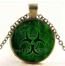 Vintage Green Biohazard Symbol Cabochon Glass Bronze Chain Pendant Necklace