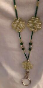 Light green Acrylic and seed beaded Lanyard with Breakaway release USA Badge