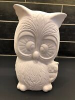 Vtg Pottery Owl Statue Ready to Paint White Ceramic Bisque Bird 1970's 11""
