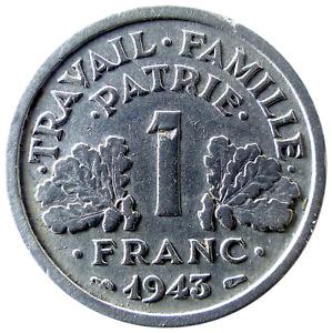 1 Franc FRANCISQUE LÉGÈRE 1943 B