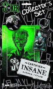 NEW! DC Batman Joker 4 pcs Collectors Set Incl - Sticker Patch Keyring & Badge