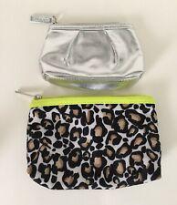2 Cosmetic Cases Zipper Makeup Bags Clinique Shiny Silver, Modella Leopard Print