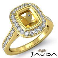 Diamond Engagement Halo Bezel Set Ring 14k Yellow Gold Cushion 0.5Ct Semi Mount