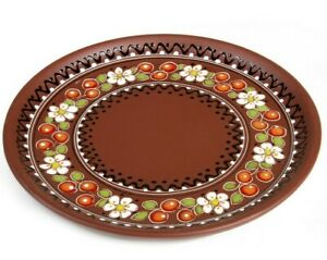 """10"""" Plate Natural Clay Serving Baking Round Dish Plate Tray w/ Cherry Artwork"""