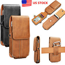 Men's Waist Bag PU Leather Belt Loop Card Clip Holster Phone Pouch Wallet Case