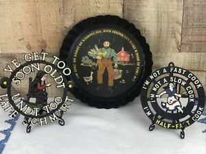 Country Folk Art Amish Set of three metal Kitchen Trivets and Sign