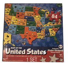 New Map Of The United States With State Shaped Puzzle Pieces 84 Piece Puzzle