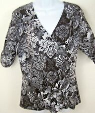 NEW STYLE & CO Womens L Black White Career Top Faux Wrap Ruched 3/4 Sleeves