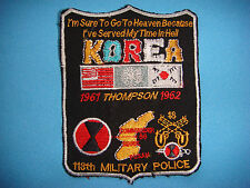 "PATCH US 118th MILITARY POLICE 7th INFANTRY DIV  ""KOREA 1961 THOMPSON 1962 """