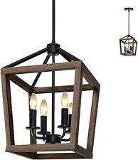 4-Light Rustic Wood Chandelier Metal Pendant Light Farmhouse Lighting