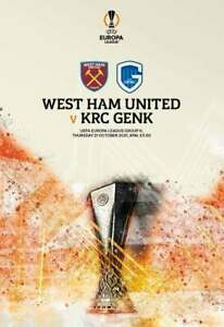 West Ham United v Genk Programme + FREE Team Sheet 21/10/2021 NEW