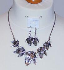 Antique Silvertone Leaf & Clear Rhinestone Bib Necklace & Earring Set - NEW