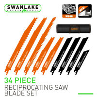 34 Pack Reciprocating Saw Blades Metal/Woodcutting Pruning With Organizer Pouch