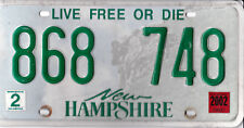 🌎⚜🐦⚜🌎  AUTHENTIC USA 2002 NEW HAMPSHIRE LICENSE PLATE.