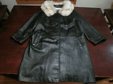 Womens La Paull's Furs Jacket Coat Size 16 Leather Fur Trimmed Collar Designer