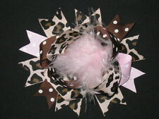 "NEW ""Light Pink LEOPARD"" Fur Hairbow Alligator Clips Girls Ribbon Bows 4.5 Inch"