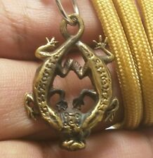 Thai Amulet Duo Gecko Pendant Rich Wealth Attraction Talisman Rope Necklace Gift