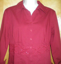 NWT womens ladies size M dark red embellished FASHION BUG stretch shirt blouse
