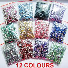 12 Colours 1000pcs Crystal Flat Back Acrylic Rhinestones Gems 3mm 4mm 5mm Craft
