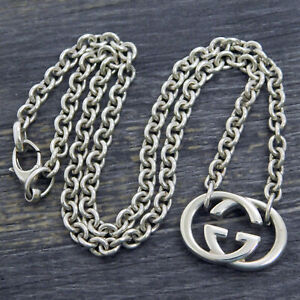 GUCCI 925 Sterling Silver Interlocking GG Logos Necklace Pendant #265f Rise-on