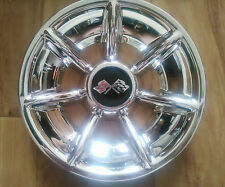 GOLF CART 10 inch CORVETTE STYLE Black CROSS SPOKE CHROME HUB CAPS WHEEL COVERS