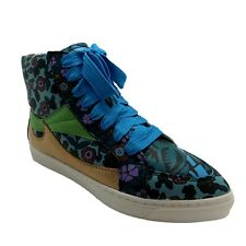 Coach 9 Shoes Womens Blue Floral High Top Sneaker Pointy Toe Lace Up Leather