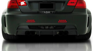 2 - DANGER EXHAUST Racing Car Vinyl Decal sticker logo RED