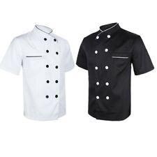 Women Men's Chef Jacket Coat Kitchen Waiter Uniform Short Sleeves Restaurant Top