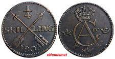 SWEDEN COPPER King Gustav IV Adolf 1803 1/4 Skilling Brown  XF CONDITION  KM#564