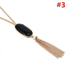 Oval Natural Stone Pendant Tassel Long Necklace Fashion Boho Jewelry for Women #3