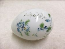 Antique Easter Egg Hand Painted White Hand Blown Glass ca. 1940