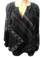 Ex M&S Ladies Indigo Notch Neck Gypsy Casual Long Sleeve Cotton Top Size 6 - 16