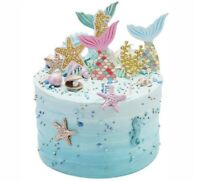 Mermaid cake topper 5pcs Mermaid Glitter Cake Decorations Mermaid Cupcake Topper