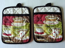Pair of Coffee Cappuccino Cafe Latte Oven Mitts Cotton Potholder Pot Holder Loop