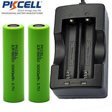 PKCELL 18650 Vape Mod Battery and Charger - 2 piece Real 3000mAh + Smart Charger