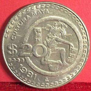 1981 MEXICO CULTURA MAYA COPPER-NICKEL 20 PESOS KM# 486