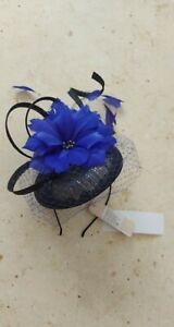 Jacques Vert Fascinator Blue Feather NEW with tags