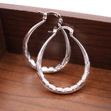 Women's Dangle Earring Sterling 925 Silver Oval Big Hoop Huggie Loop Earrings