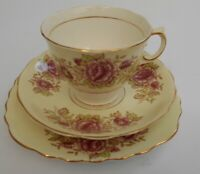 Vintage Colclough English Bone China Hand Painted Gilded Cup Saucer Plate Trio