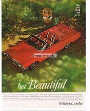 1963 BUICK Le Sabre Red Convertible Vtg Print Ad