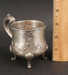 Antique 19thC American Victorian Hand Repousse Hallmarked JGK Coin Silver Cup NR