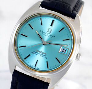 OMEGA CONSTELLATION CHRONOMETER AUTO CAL1011 DATE SKY BLUE DIAL MEN'S WATCH