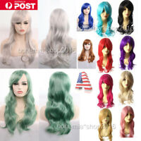 NEW Womens 70cm Long Wavy Curly Hair Synthetic Cosplay Full Wig Wigs Party AU