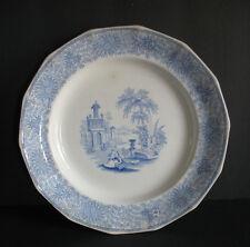c 1850 Adams China England Staffordshire Plate Isola Belle Blue transferware