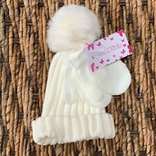Two-Piece Ivory Faux Fur Pom-Pom Beanie & Mittens Set Ava Olivia Girls 0-12 mos