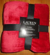 Ralph Lauren Micromink Blanket Full Queen Size Orange Red RL Logo Bedding NWT