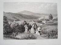 Bad Kissingen  Franken Ludwig Richter  echter alter Stahlstich 1844