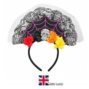 Ladies Kids Floral Rose DAY OF THE DEAD TIARA HEADBAND Fancy Dress Halloween UK