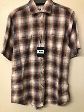 joseph abboud linen shirt size L large brown navy plaid short sleeve new w/tags