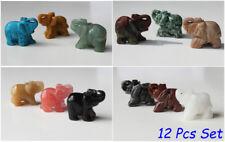 Set 12 Lucky Gemstone Elephants Made of Various Semi-Precious Stones Feng Shui